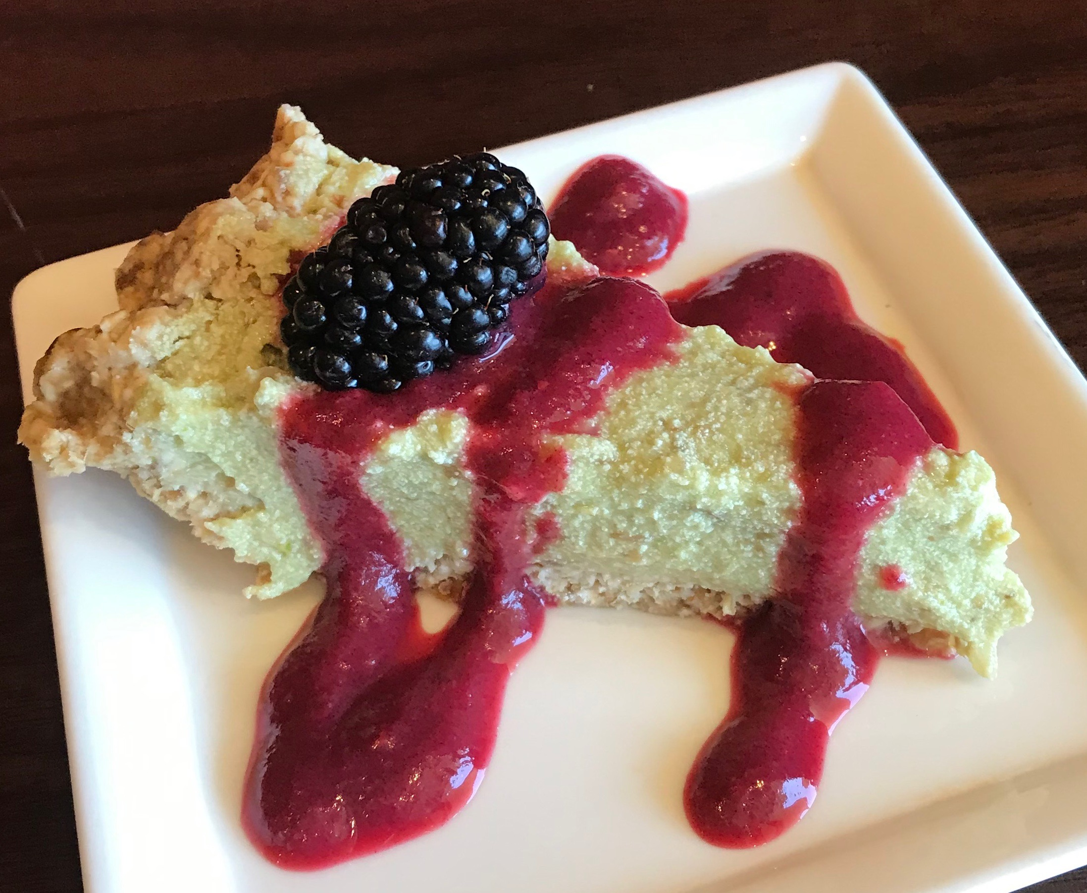 Organic Key Lime Pie with Blackberry Reduction